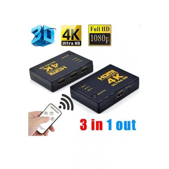 Hdmi Çoklayıcı 3 Port 4K KUMANDALI ULTRA HD HDMI Switch Splitter Çoklu Cihaz Tek Ekran Uydu Bağlantı