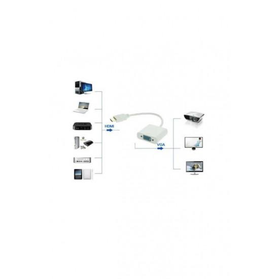 Hdmi to Vga Kablo Çevirici Dönüştürücü Görüntü HDMI BST-2094