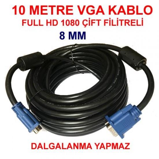 10 Metre VGA Kablo 15 Pin Erkek Erkek Görüntü Kablosu LCD Projeksiyon Ekran Monitör Kasa Bağlantı